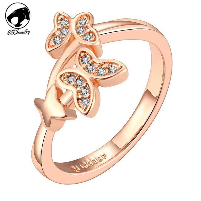 2015 new design brand zircon crystal set of rings 18k Rose gold