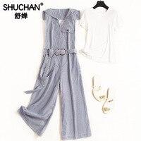Shuchan Striped Rompers with Sailor Collar +white T shirt 2piece Set Women 2019 Designer 2 Pieces Set Summer Women's Suits 51078