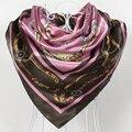 $5.04 бесплатно стоимость доставки, стиль европа цепи узор атласа большой площади шарф, шелковый шарф 90*90 см