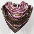 $5.04 taxa de frete grátis, estilo europa padrão cadeia de cetim grande lenço quadrado, lenço de seda 90*90 cm