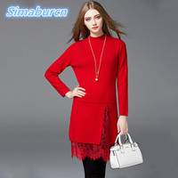 Elegant Female Pullovers Knitted Dresses Women Long Sleeve O Neck Casual Autumn A Line Dress Ladies Red Black Gray Dresses