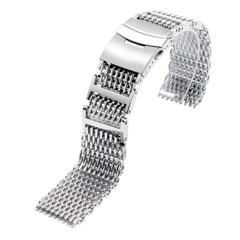 Prix pour Mode Argent Acier Inoxydable Montre Bande Shark Mesh Boucle Déployante Bracelet De Montre 20mm 24mm Bracelet Pour Le Poignet montre Remplacer