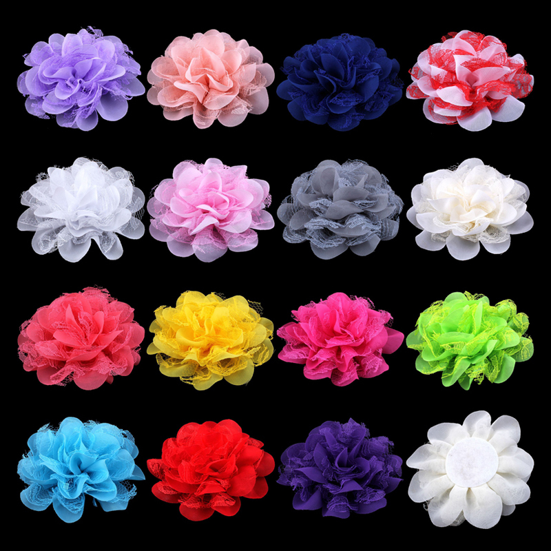 50pcs/lot 4.1 17colors Shabby Lace Mesh Chiffon Flower For Kids Girls Hair Accessories Artificial Fabric Flowers For Headbands 2pcs xenon hid white 25w high power 5 xcree xp e chips 881 h27 pgj13 led fog light driving drl bulbs