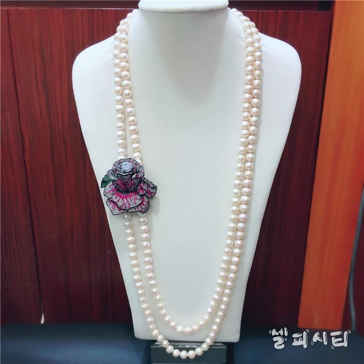 Ręcznie wiązane naturalne 2 rzędy 9 10mm białe słodkowodne perły róża mikro wkładka cyrkon akcesoria naszyjnik moda biżuteria w Naszyjniki łańcuszkowe od Biżuteria i akcesoria na  Grupa 1