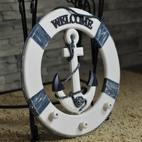 Wooden Nautical Anchor Mediterranean Style House Shop Decoration Crafts Wall Hanging Hook Life Buoy Fish Star Hanger Home Decor
