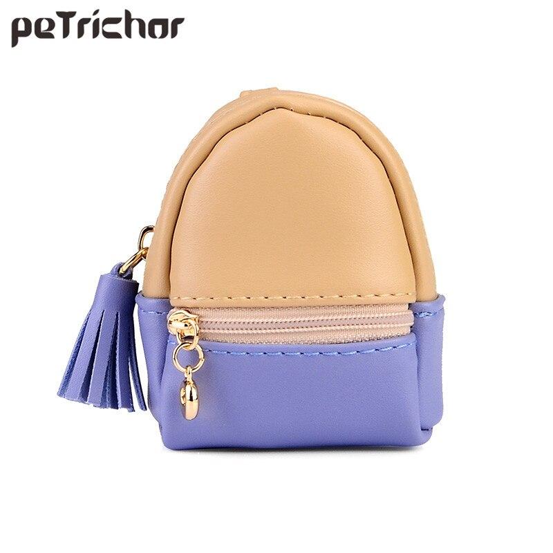 Petrichor Korean Style Mini Bag PU Leather Girls Coin Purses Lady Fashion Tassel Zipper Patchwork Multifunctional Small Purse