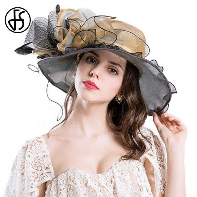 66fb2277b US $19.99 |FS Retro Organza Sun Hat For Elegant Women Large Brim Big Flower  Summer Fashion Ladies Beach Sombreros Mujer Verano Flores-in Sun Hats from  ...