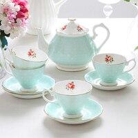 Пастырской ретро чашка и блюдце Британский день Чай горшок Европейский Стиль Чай комплект Керамика Кофе комплект