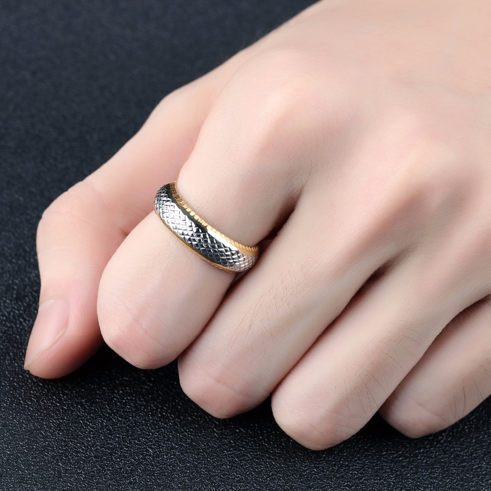 Seanuo 6MM Silver & Gold Color Snake Skin Men Stainless Steel Finger ...
