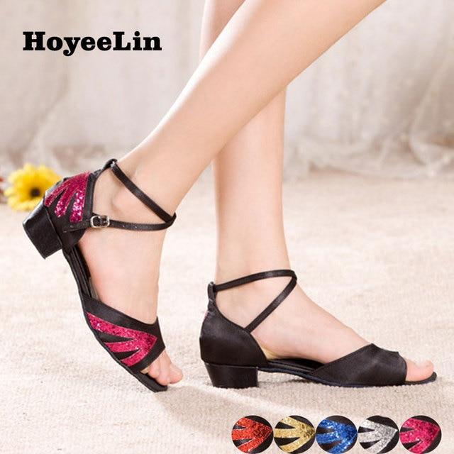 2412ab77 Zapatos latinos de tacón bajo hoyeelín para mujer para fiesta de salón de  baile Rumba Salsa zapatos de actuación sandalias de suela interior