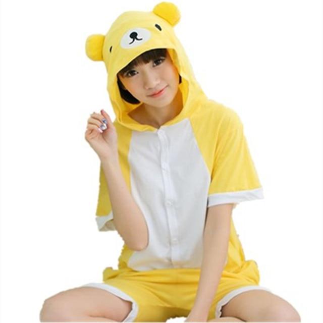 f2db03a5dfdf Cartoon Anime Yellow bear Cosplay Costume Summer Jumpsuit Short Sleeve  relax kuma Bear Pajamas Onesie for Adult Child Sleepwear