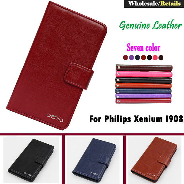 For Philips Xenium I908 7 Colors Flip Genuine Leather Smartphone Case For Philips Xenium I908 Pouch Cover Bifold Card Wallet