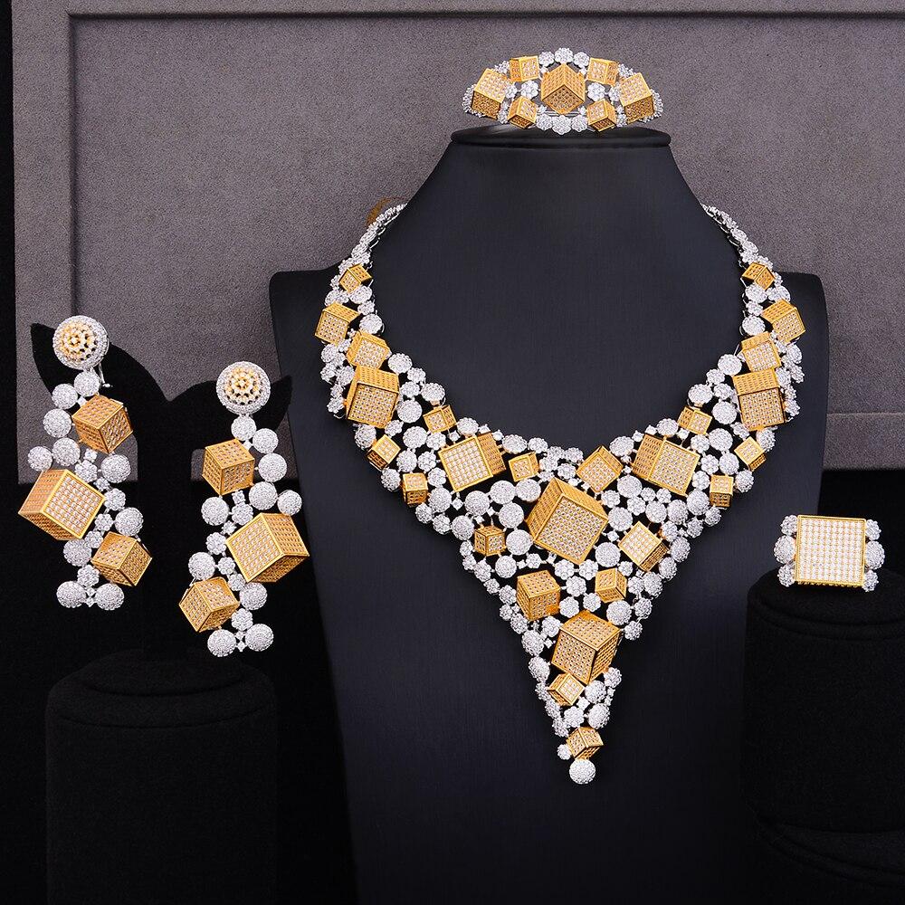 GODKI luxe boîte magique 4 pièces africain cubique Zircon CZ nigérian ensembles de bijoux pour les femmes de mariage Dubai or bijoux de mariée ensemble 2019
