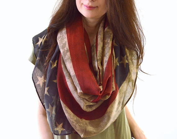 Long USA Vintage American Flag Scarf Stars & Stripes Patriótico Bufandas Wrap 10pcs / lot envío gratis