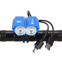 Rechargeable 5V 6000LM 2xCREE XM L T6 LED Head Front Bike Bicycle Light HeadLamp Blue Torch