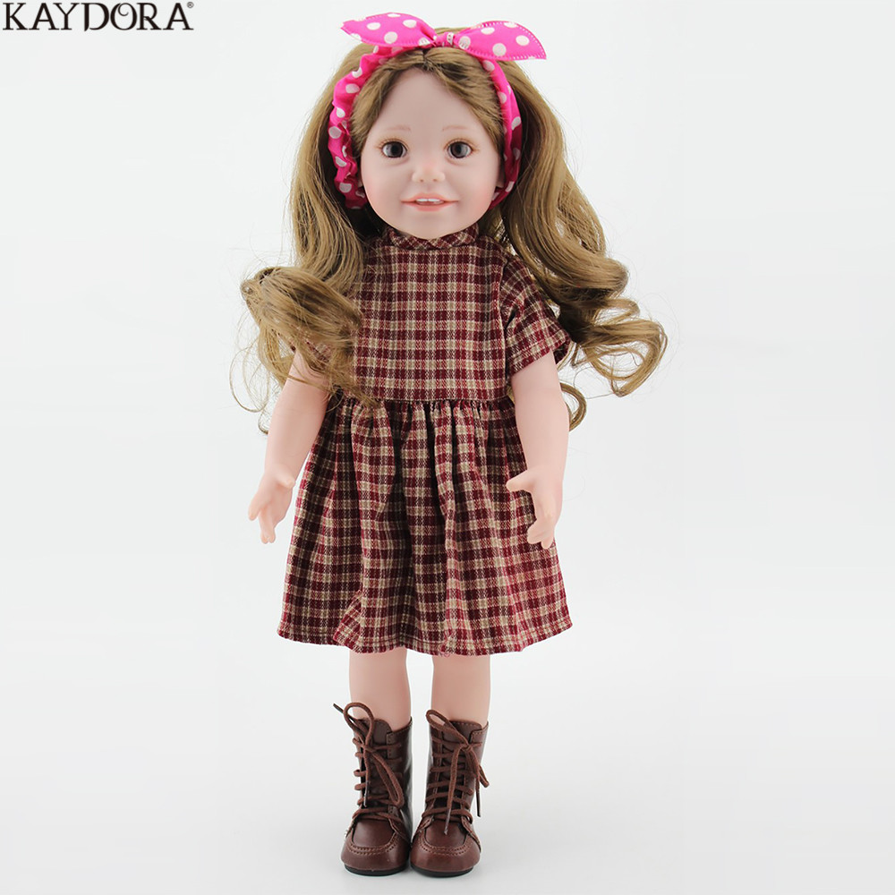 KAYDORA Fashion Girl Doll Baby Reborn 18 inch 45m Full Vinyl Long Blonde Curly Hair Red