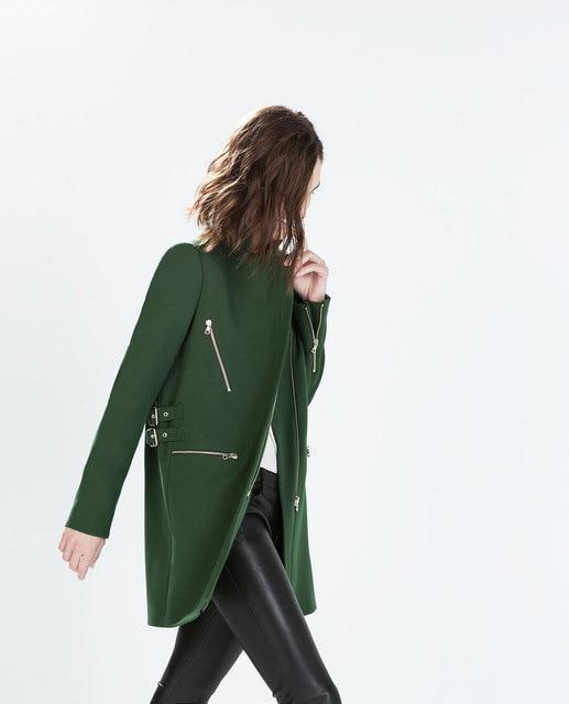 Women Brand New Dark Green Buckle and zipper decoration 2014 ZA style Woolen Coat Female Wool & Blends Outerwear Top Quality