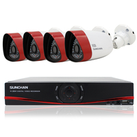 SUNCHAN 4CH NVR Outdoor 720P HD IP Network PoE 1280 720 Home Security Cameras System Outdoor