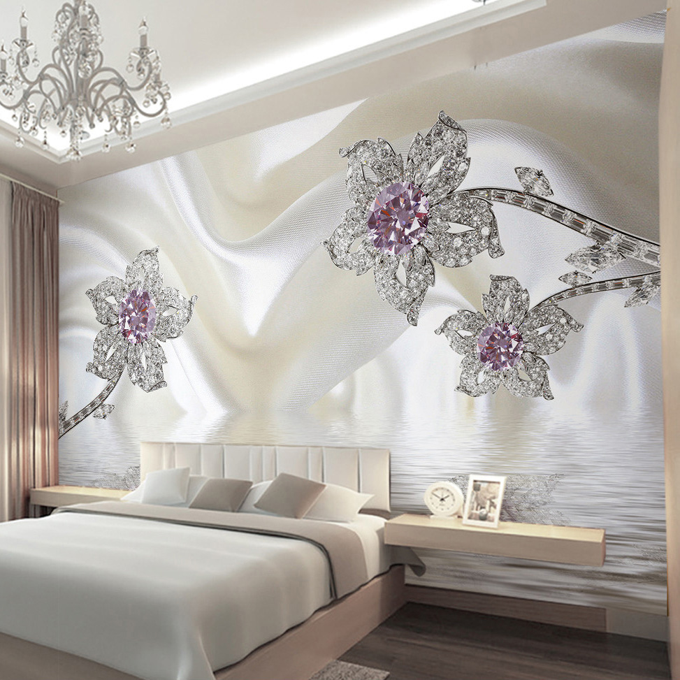 Custom Mural Wallpaper 3D Stereo Diamond Jewelry White Silk Cloth Art Wall Painting Living Room Bedroom TV Backdrop Wall Cloth