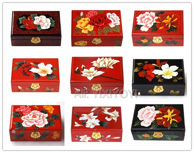 Ancient Chinese Handwork 2 Layer Flower Painting Wood Storage Box with Mirror Gorgeous Jewelry Display Box Carrying Case