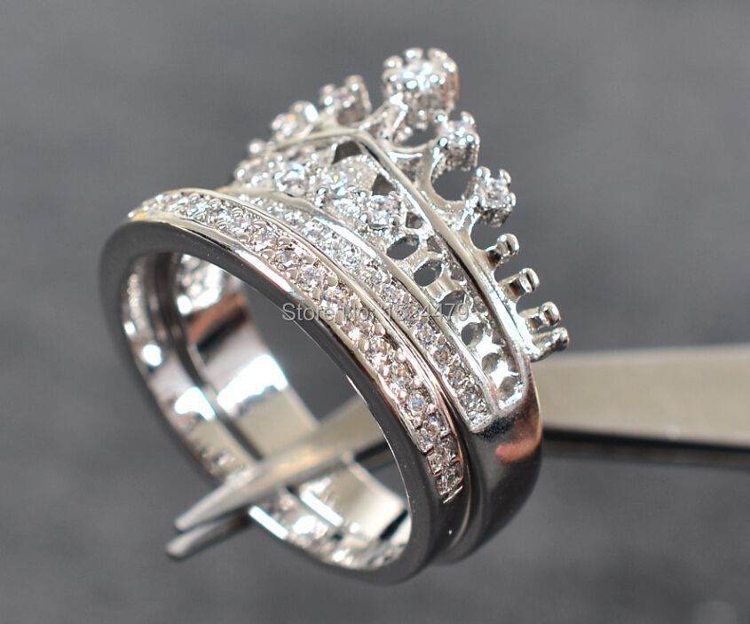 Size5 10 Coronet Lady Engagement Ring Set Queen Crown Zircon 10kt White Gold Filled Women S Wedding Band Jewelry In Rings From Accessories On
