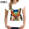 FORUDESIGNS Graffiti Fox Prints T-shirt Women Tee Shirt Femme Short Sleeved Elastic Tshirts For Girls Ladies Summer Ropa Mujer