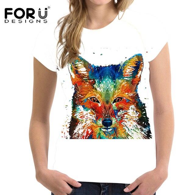 FORUDESIGNS Graffiti Fox Prints T-shirt Women Tee Shirt Femme Short Sleeved Elastic Tshirts For Girls Ladies Summer Ropa Mujer