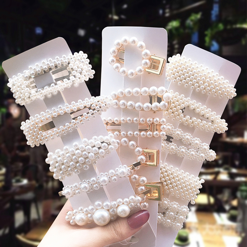 1set INS Style Female Pearl Hair Clip Handmade Elegant Women BB Side Clip Girl Hairpin Hair Styling Tools Accessories