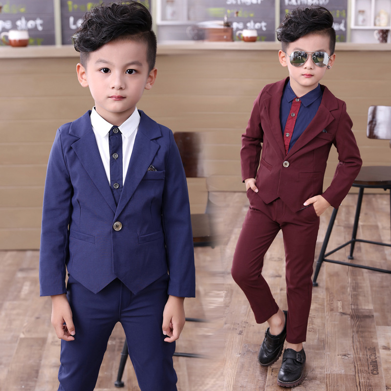 2pcs/set(Jacket+Pants) 2019 NEW Formal Primary Boy Suit High Quality Kids blazers suit Slim And Gentle Child Prom Suit