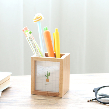 JIANWU Succulent plants Wooden pen container Multifunctional photo frame pen insertion kawaii