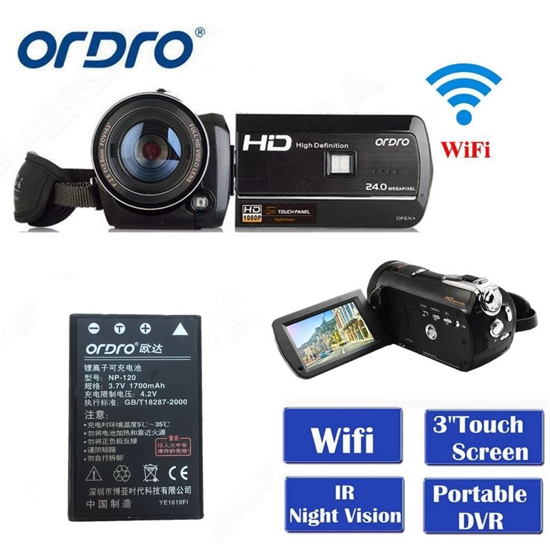 Latest Ordro Digital Video Camera HDV-D395 Infrared Night Vision Camcorder Wifi HD 1080P 30fps with Remote Control Dual LED keyshare dual bulb night vision led light kit for remote control drones