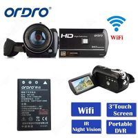 Latest Ordro Digital Video Camera HDV D395 Infrared Night Vision Camcorder Wifi HD 1080P 30fps with Remote Control Dual LED