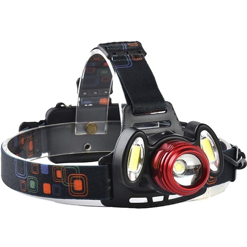 8000LM Cree XM L-T6+2*COB LED Headlamp Waterproof Headlight Zoomable Focus Fishing Camping Hunting Climbing Head Lamp Lights