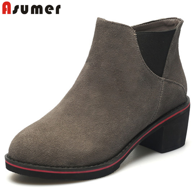 ASUMER black 2018 fashion autumn shoes woman round toe ladies ankle boots square heel prom suede leather high heels boots women enmayla fashion front zipper ankle boots women chucky heels square toe high heels shoes woman black yellow suede autumn boots