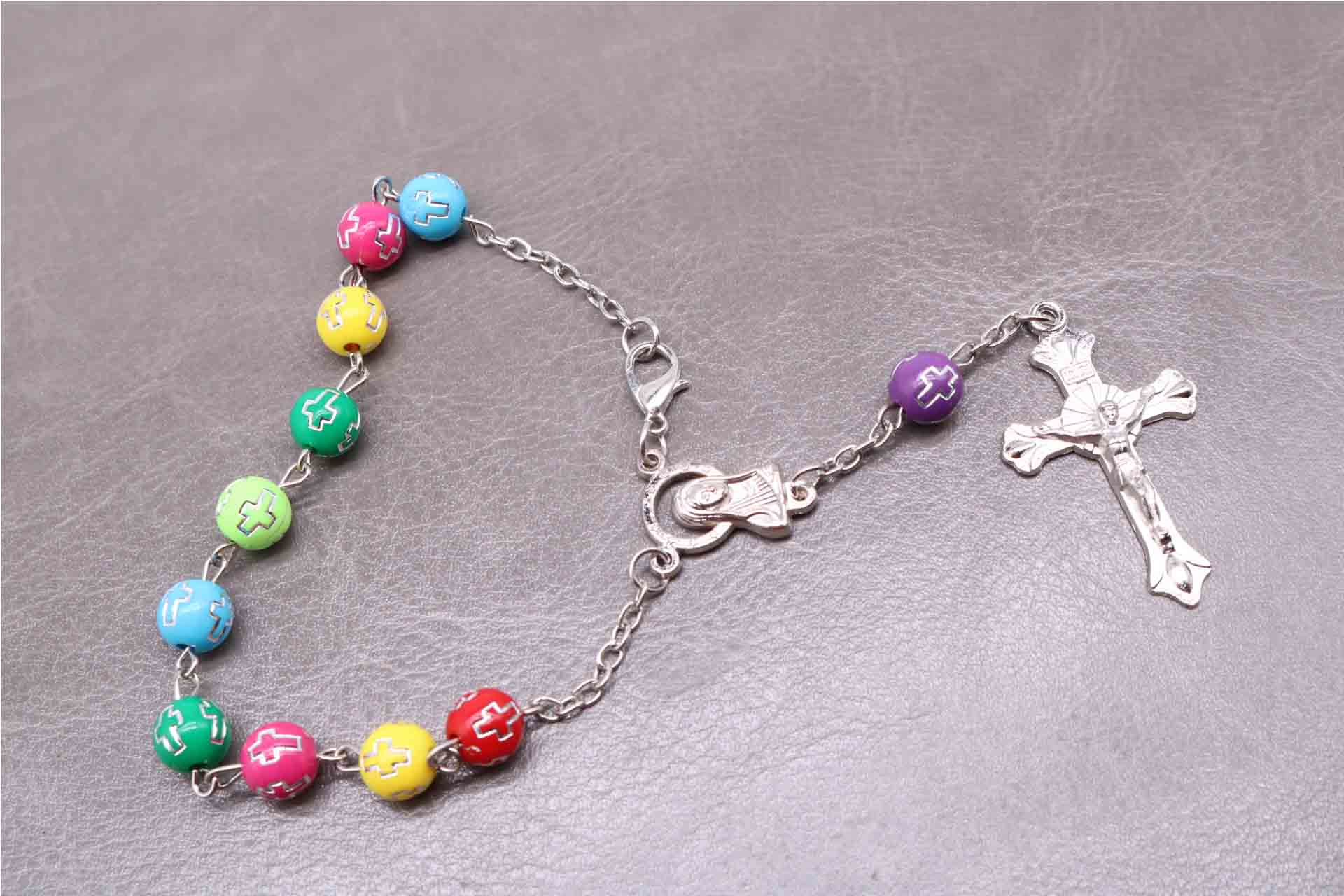 8MM Colorful Plastic Silver Cross Rosary Bracelet, Rose Bracelet, Silver Lobster Metal Center and Jesus Cross Pendant