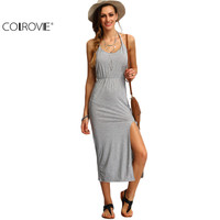Grey Halter Sleeveless Backless Side Split Sheath Long Beach Ladies Cotton Dresses 2016 Summer Dress