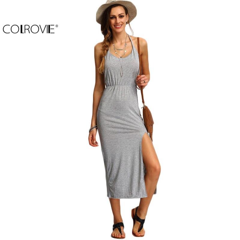 COLROVIE Halter Sleeveless Backless Side Split Sheath Long Beach Ladies Cotton Dresses Summer Dress