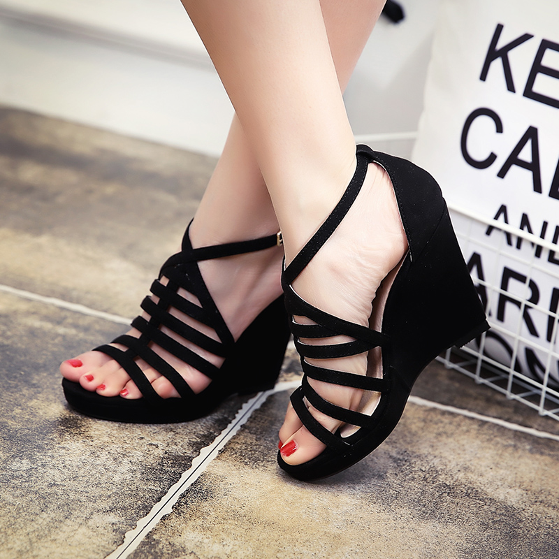 a041fd05e176 Free Shipping Brand New Sweet Narrow band 10CM Sexy women Wedges Roma  sandals  Hot selling