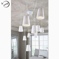 Free Shipping Modern Fashion Hanging Lighting Clusters Of Hanging Fabric Shades Lamps Clusters Chandeliers