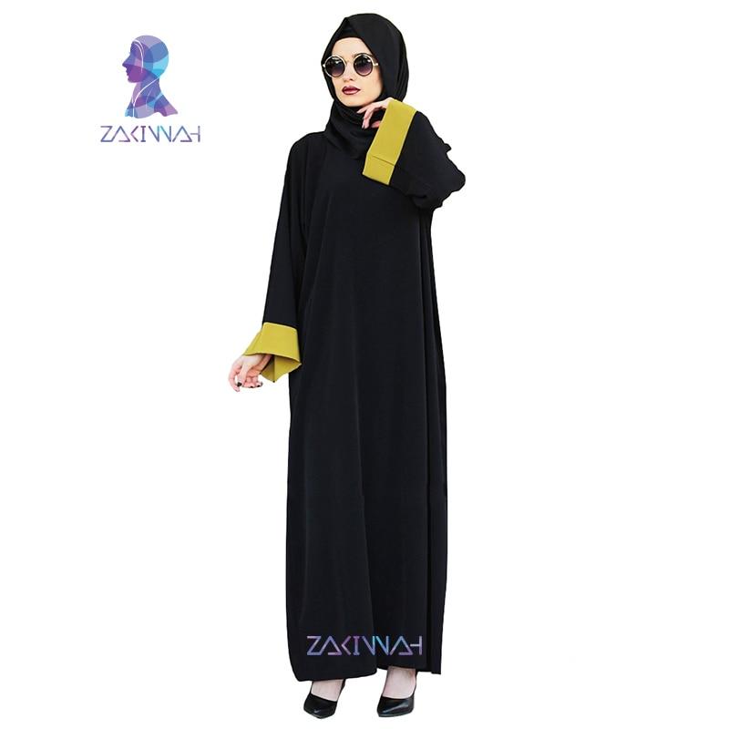 Zakiyyah النساء العبايات الشيفون الأسود كم طويل مسلم قفطان اللباس الإسلامي اللباس التقليدي التركي الأزياء