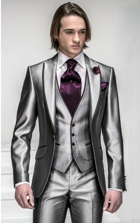 Classic Style One Button Silver Groom Tuxedos Groomsmen Mens Wedding