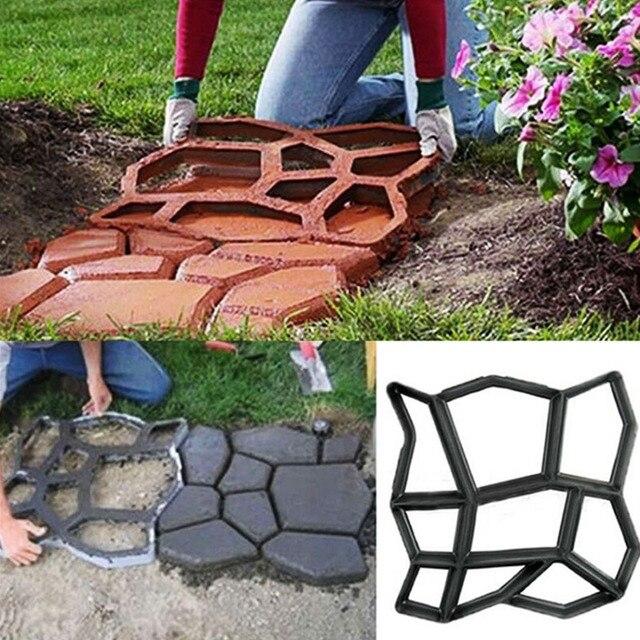 1 Pc Jardim Parque Pavement Pavimentação de Concreto Molde Trampolim Caminho Passagem Molde Do Tijolo Do Cimento Para Decoração de Jardim