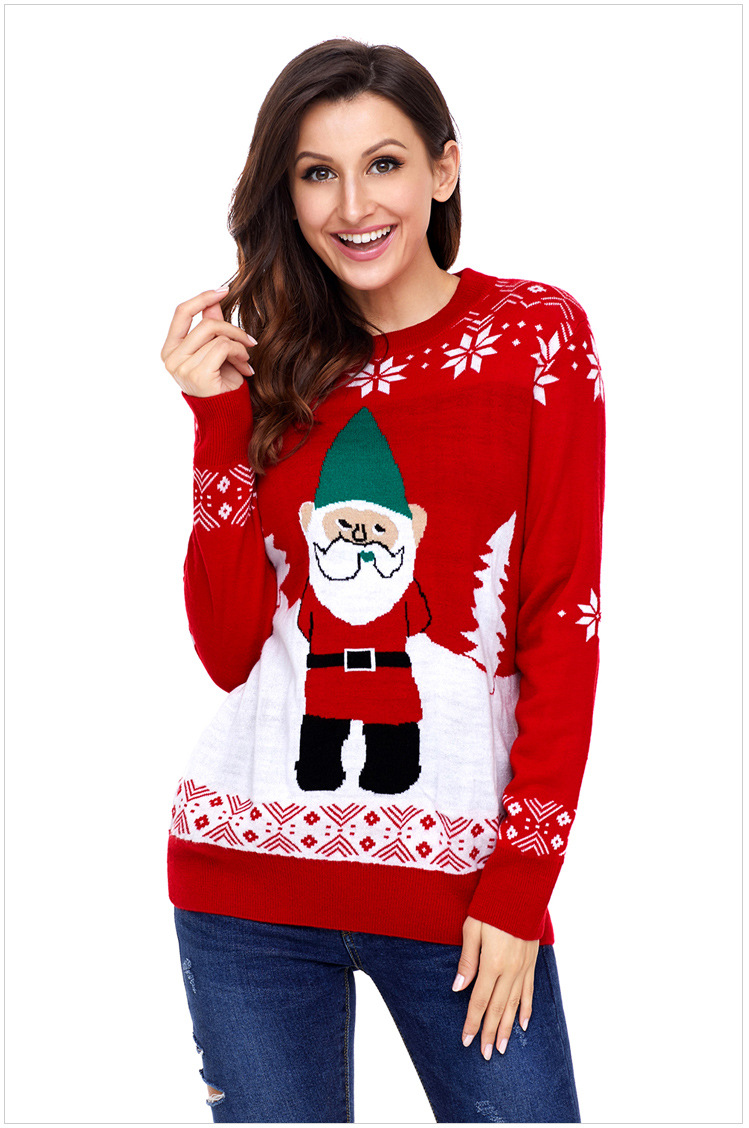 Laamei Autumn Women Santa Claus Sweaters Loose Knitted Sweater Tops Casual Pullovers Winter Christmas Sweater In Red Sweet