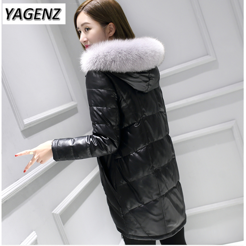 High-grade PU leather Jacket Down Hooded Coats Winter Slim Moderium long Fox fur Cotton Outerwear Warm Casual Female Jackets high end winter women jacket warm hooded coats 2018 new thick fox fur collar slim long coats casual cotton leather jackets 5xl