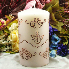 Silicone Candle Mold 3D Cylinder Shape with Classic Relief for DIY Handmade Soap Mould
