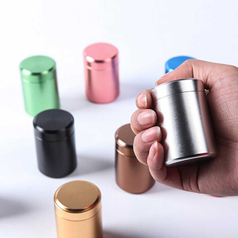 Metal Aluminum Portable Small  Sealed Cans Travel Tea Caddy Airtight Smell Proof Container Stash Jar Hot sale