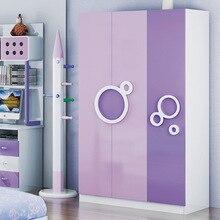 Детские шкафы, детская мебель, деревянный детский шкаф, детский шкаф,,, сборочный светильник фиолетового цвета, 200*120*55 см