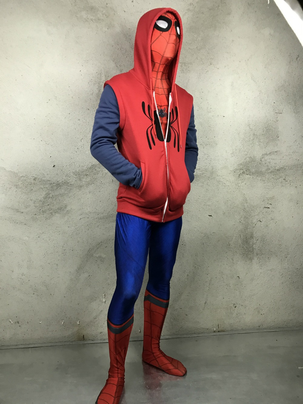 Spider-Man:Homecoming hoodie cosplay costume Cotton Sweater mens Hooded Peter Park SpiderMan zipper coat