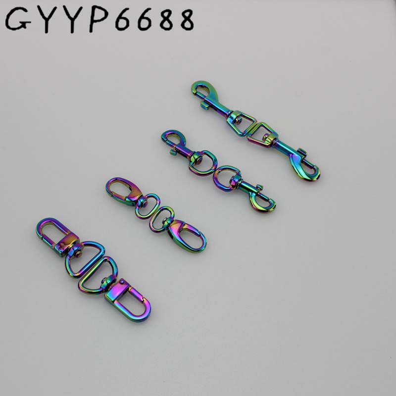 4-30 Pieces New Rainbow Trigger Snap Hook Metal Swivel Clasp Lobster Claws Swivel Hooks Hardware Hook Clasp