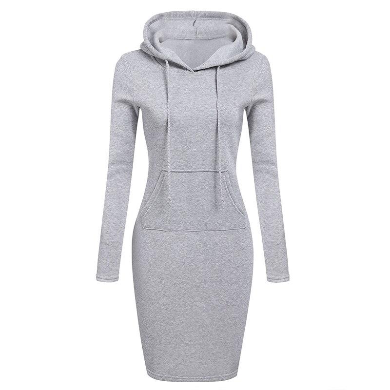 Autumn Winter Warm Sweatshirt Long-sleeved Dress Woman Clothing Hooded Collar Pocket Simple Casual lady Dress Vesdies Sweatshirt